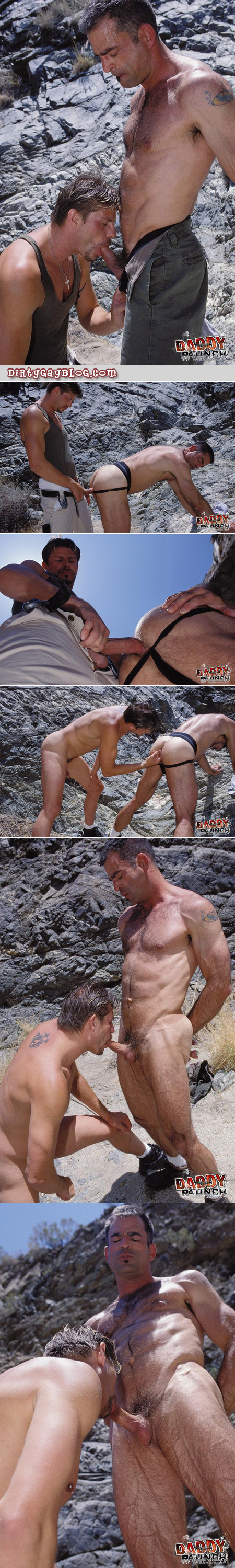 Veiny muscle Daddy gets sucked and fucked by a male hiker in the public desert.