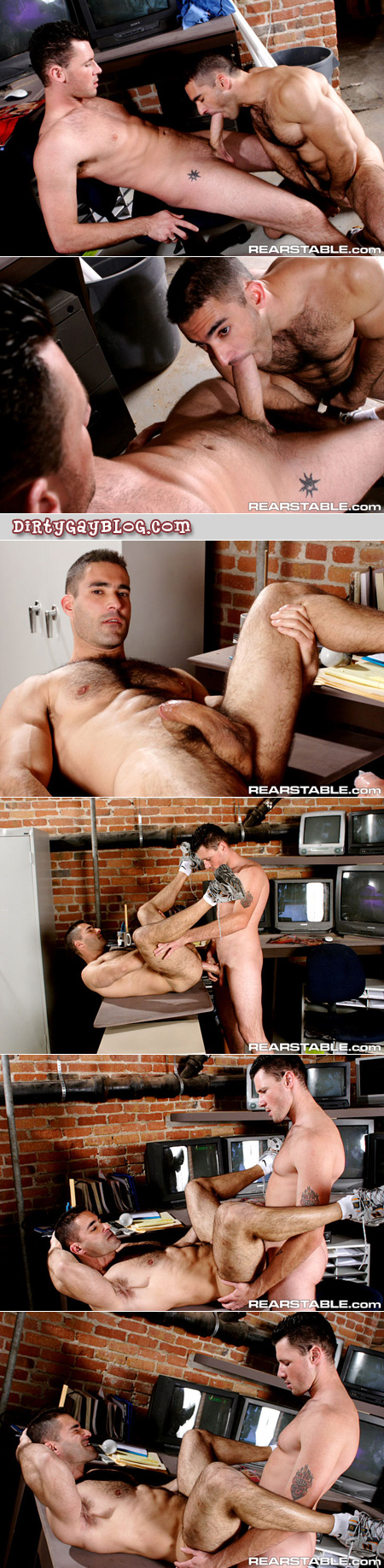 Super hung white guy uses his extra big dick to fuck a hairy, muscular Italian guy in nothing but his sneakers.