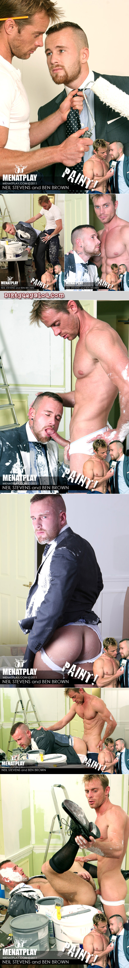 Hairy executive in a suit and tie gets abused and fucked by the ripped, gorgeous repair man.