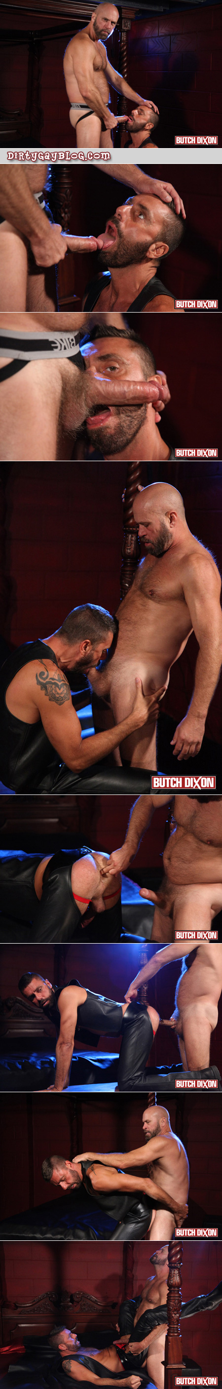 Butch, older leather men having rough gay sex in jockstraps and boots.