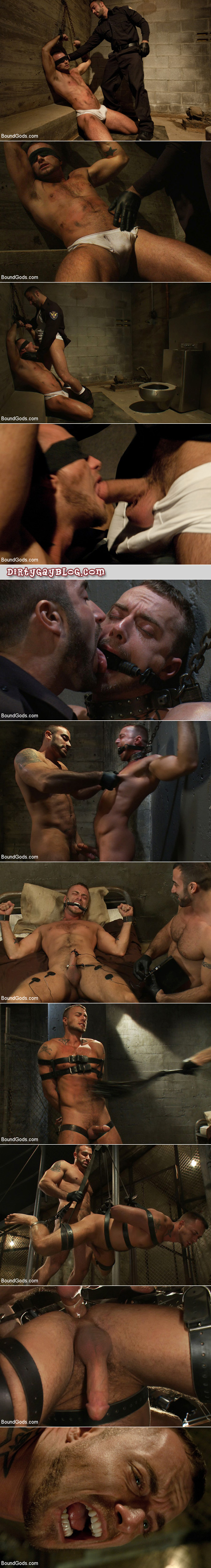 Muscle man uses sex toys, whips, e-stim and other devices to get off his hairy friend.