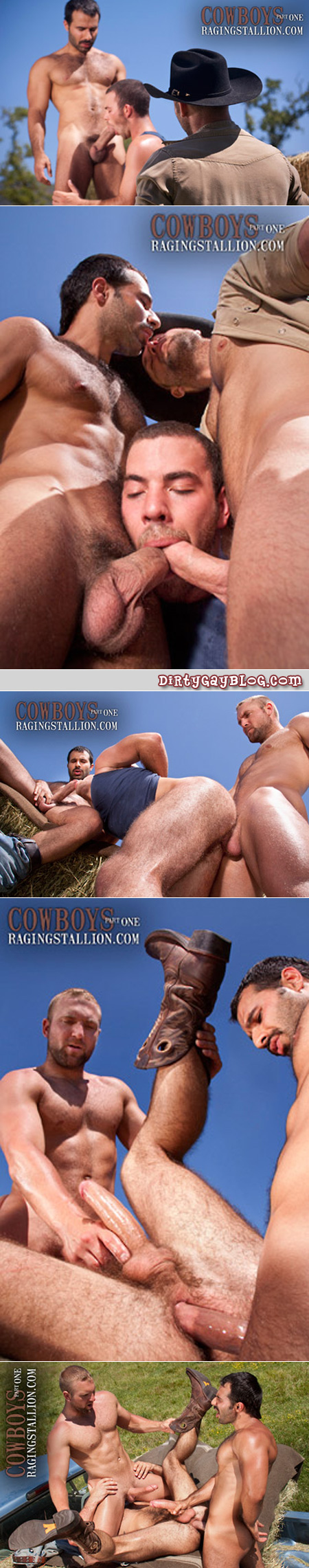 Three hairy cowboys having gay sex in the back of a pickup truck.