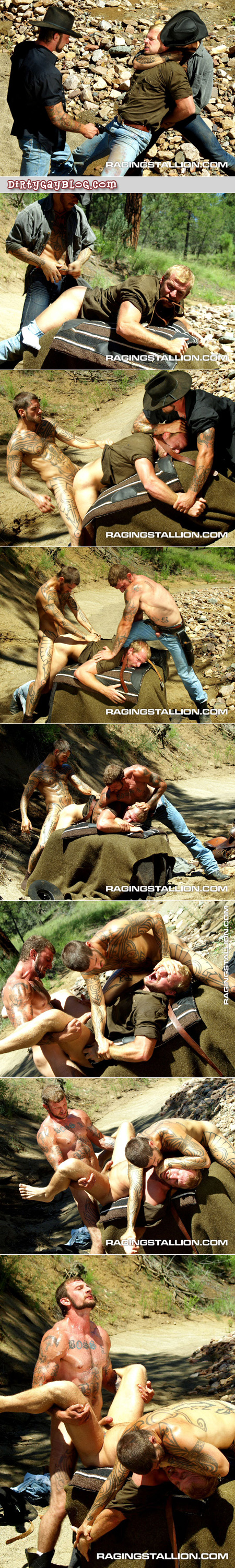 Two heavily tattooed male cowboys gang rape their male enemy.