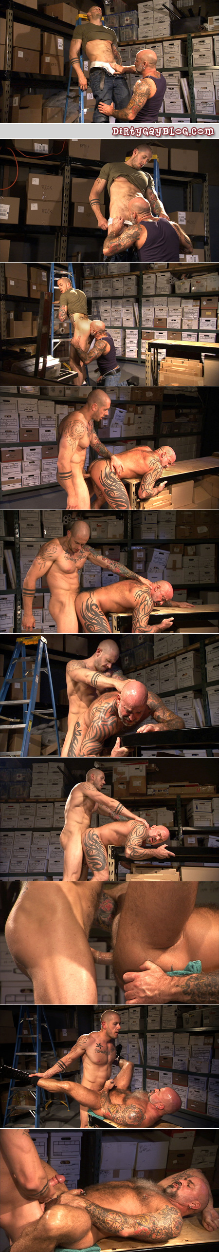 Hairy Daddy bear with a pierced cock and covered in tattoos takes it up the ass from a bald, tatttooed muscle man.