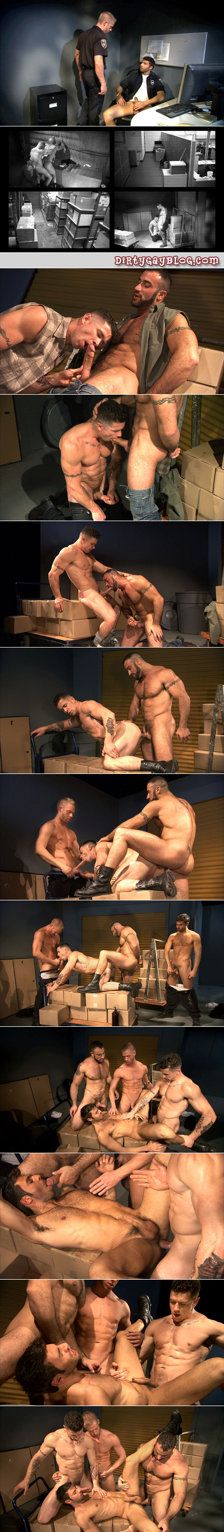 Two horny security guards watch muscle men have gay sex on the security camera before joining them in a gay orgy.