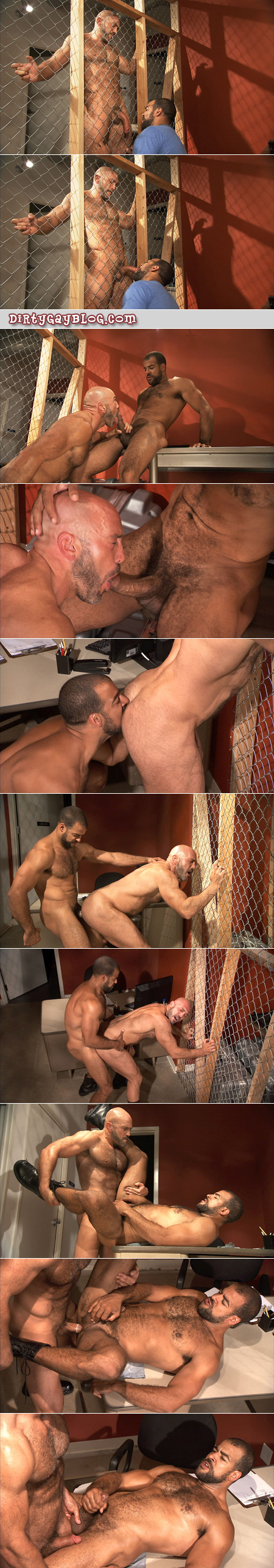 Two hairy muscle Daddies flip-fuck at a blue collar men job site.