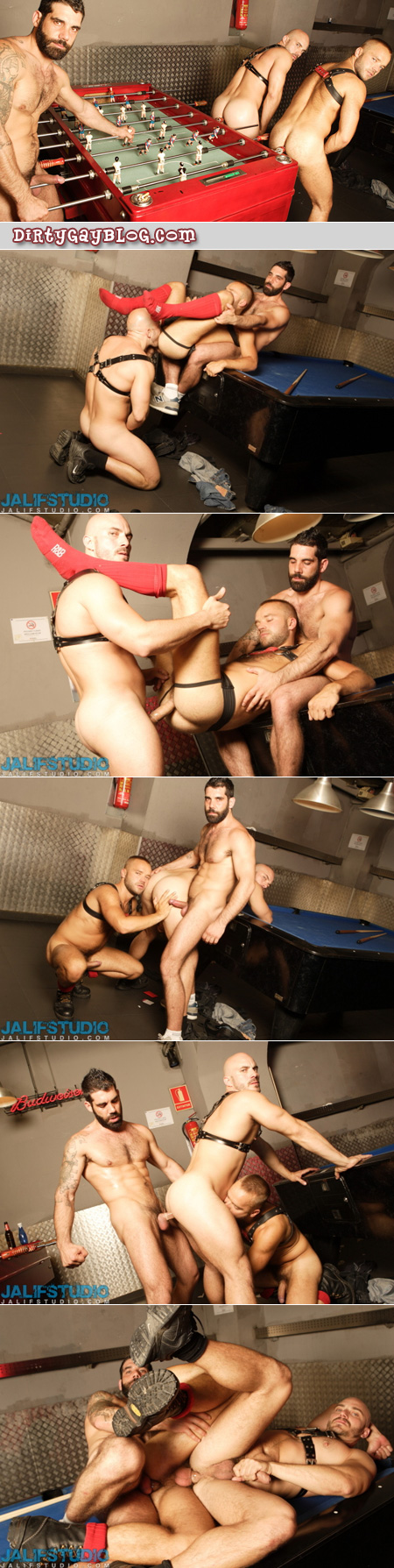 Fit, muscular dark-haired Daddy has gay sex with two shaved head guys in leather harnessess and boots.