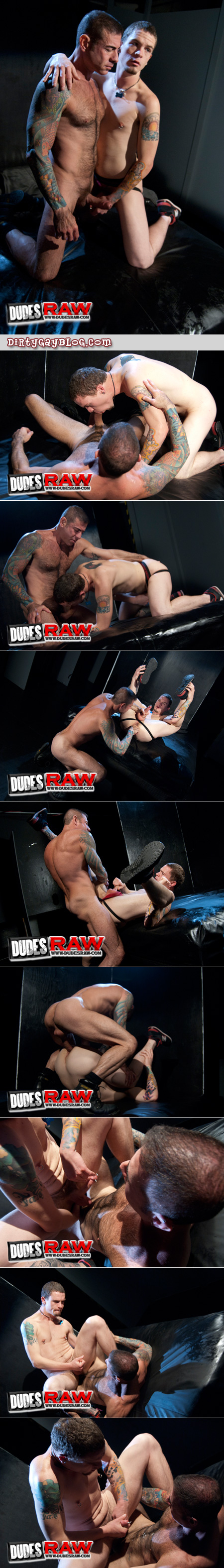 Tattooed Daddy fucks his inked up son at the gay gloryhole.