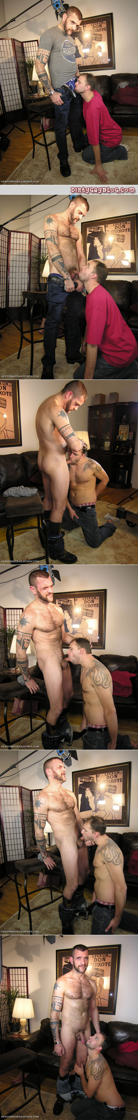 Hairy straight guy with tattoo sleeve and lamb chop sideburns goes gay for pay.
