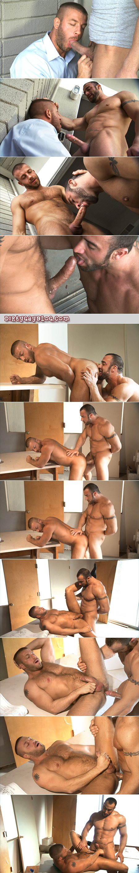 Business man comes home from work early to find a horny, muscle bound contractor and seduces him into gay fucking.
