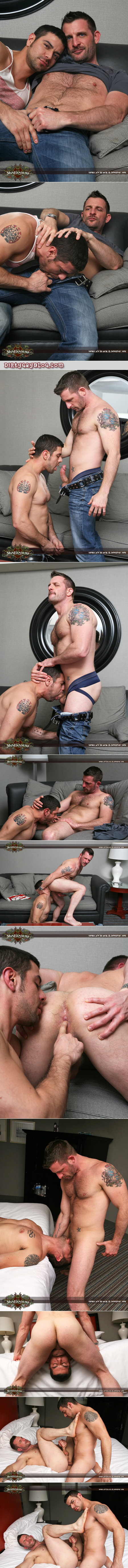 Scruffy, blue-eyed stud flip fucks with a thick horny Latino guy.