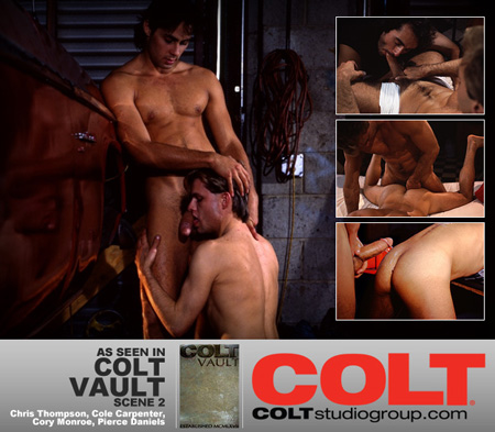 Two gay couples watch each other have sex while they get themselves off in this vintage gay porn.