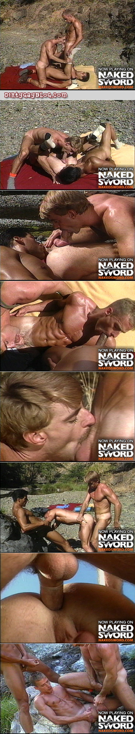 Mustachioed tan and blonde guy has a gay threeway by the river with two other ripped guys.