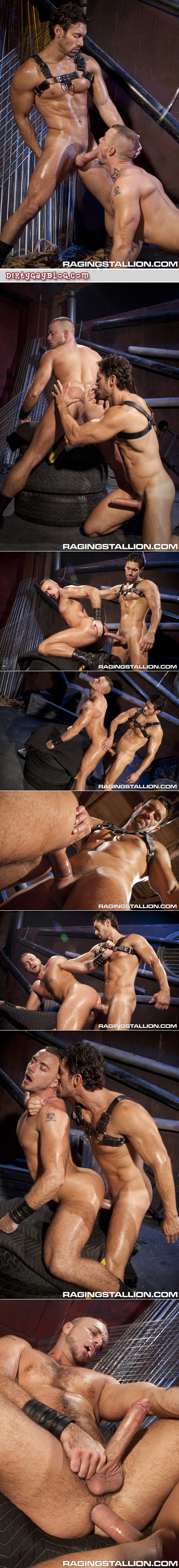 Fit hairy guy in leather gets fucked by a smooth Latino leatherman's gigantic dick.