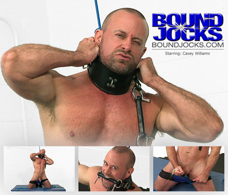 Muscular stud in underwear escapes his rope bondage for jacking off.