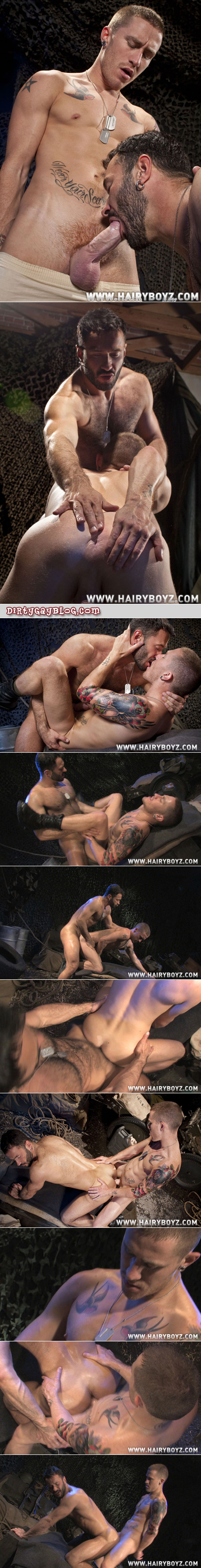 Hairy military guy has clandestine gay sex with his bunkmate.