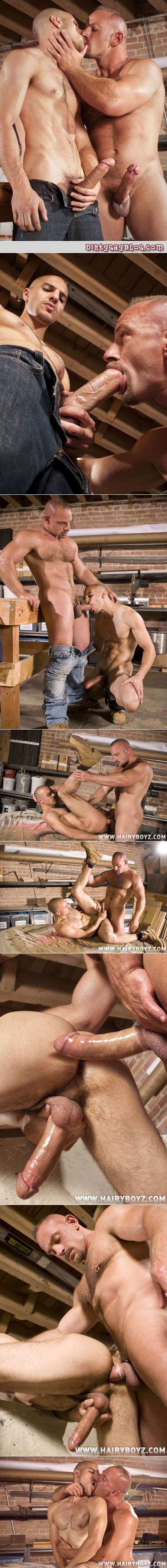 Muscular furry top with a mustache and big dick fucks a hung uncut Latino in work boots.