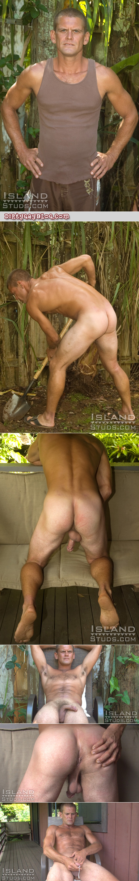 Fit older male mechanic does nude landscaping and jerks off for money.