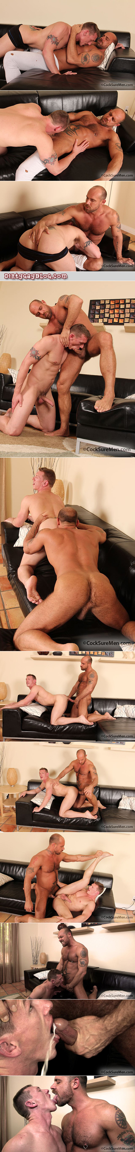 Hairy, muscular, tattooed bald stud gay snowballs with his pierced white male buddy.