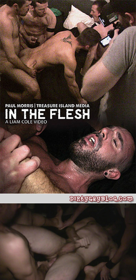 Filthy bareback group sex between gay men of all ages in a dark warehouse.