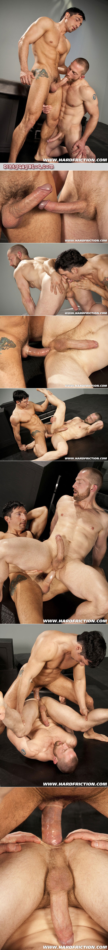 Two lean muscular guys with extra big dicks sword fight before the hungry bottom takes the biggest Latino cock of his life.