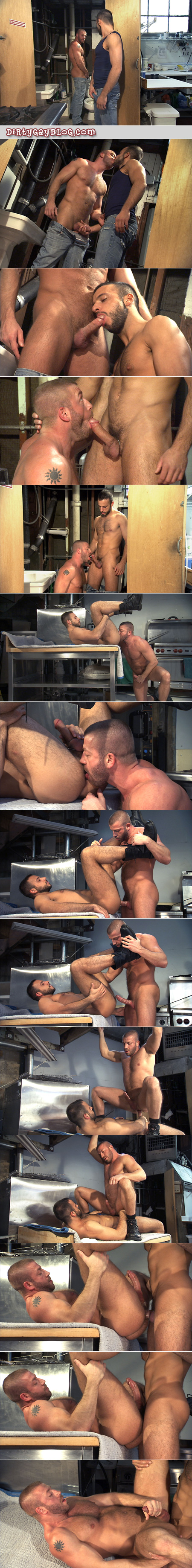Beefy, hairy muscle bear flip-fucks with a hairy Italian guy on a plumber construction site.