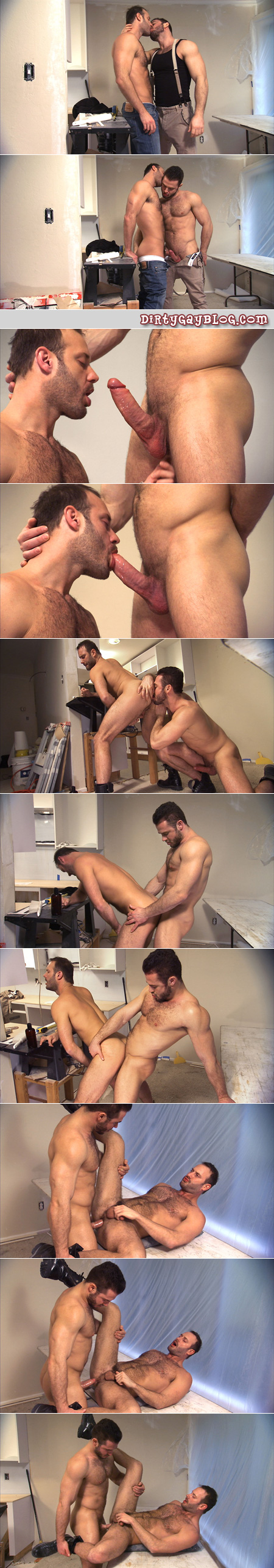 Hairy, muscular contractors in black boots secretly have gay sex on the job site.