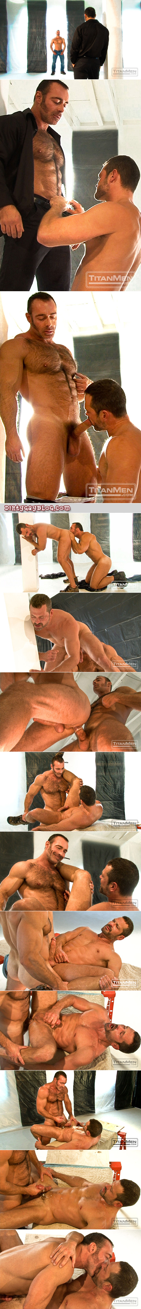 Hairy, gigantic man with lamb chop sideburns sticks his curved dick into an older macho guy's tight asshole.