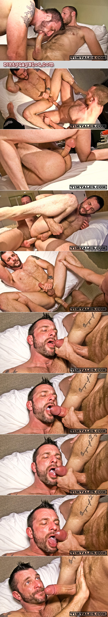 Hung top fucks a tight, mature bottom then shoots a huge cumshot from his enormous cock into the guy's furry beard and mouth.
