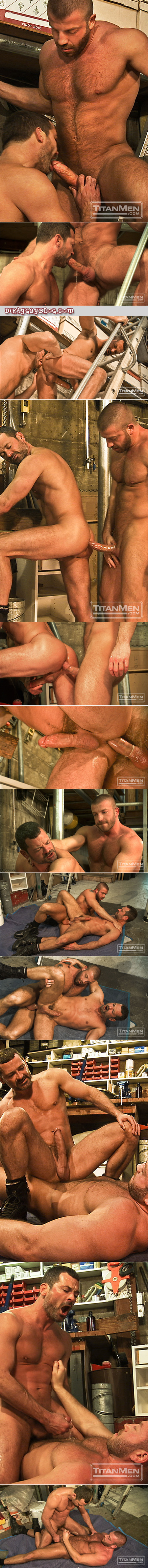 Mature, beefy, hairy men in a warehouse garage strip down to nothing but their black boots to suck dick and have anal sex.