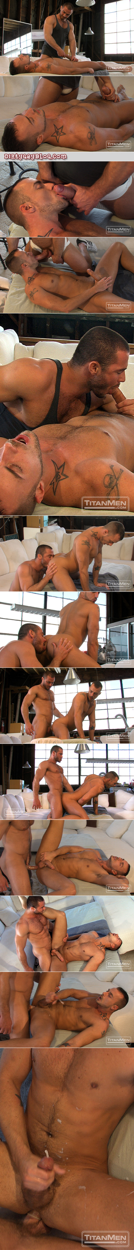 Male massage therapist in a jockstrap takes advantage of his men clients.