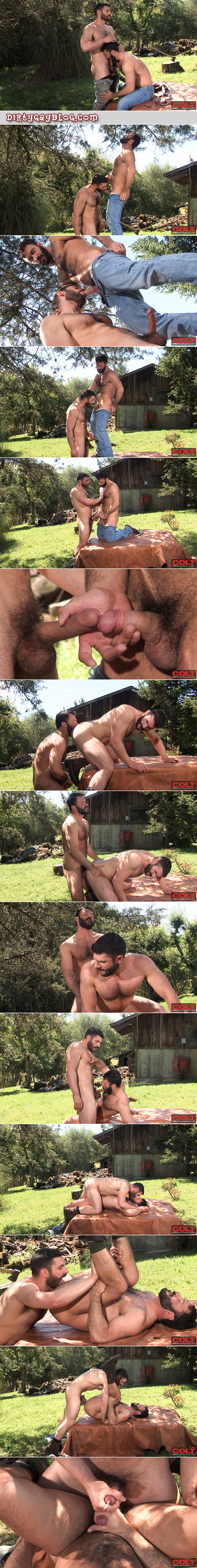Butch, bearded hikers with hairy chests suck each other's dicks and fuck each other outside the cowboy barn.