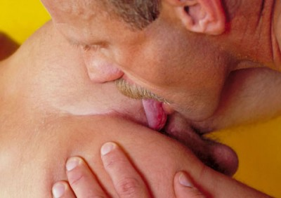Butch blonde muscle stud with a thick mustache and huge cock dominates a short scruffy guy in public.