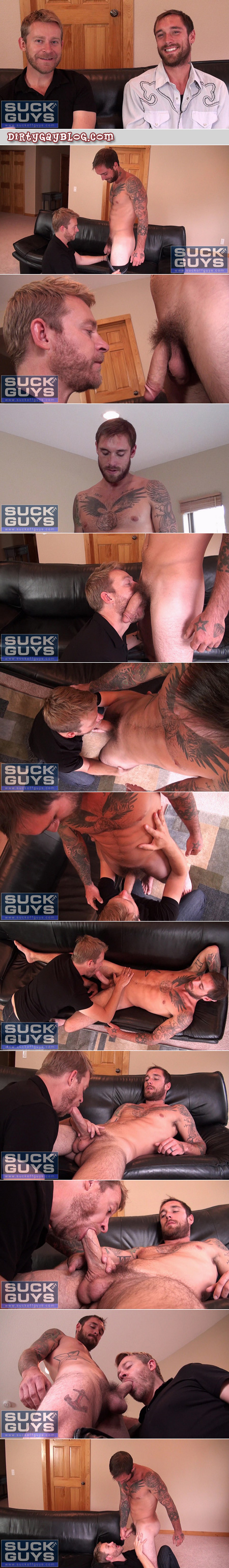 Horny bearded guy sucks cum out of a hung straight guy with lots of tattoos and a hairy chest.