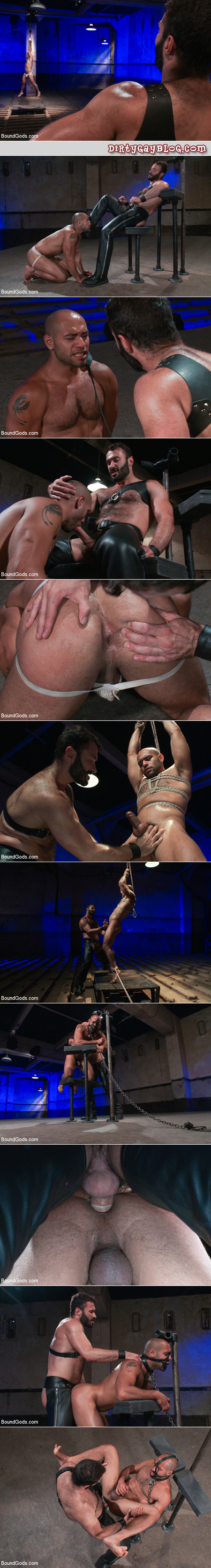 Butch leather Daddy abuses his willing blatino slave with extreme gay bondage.