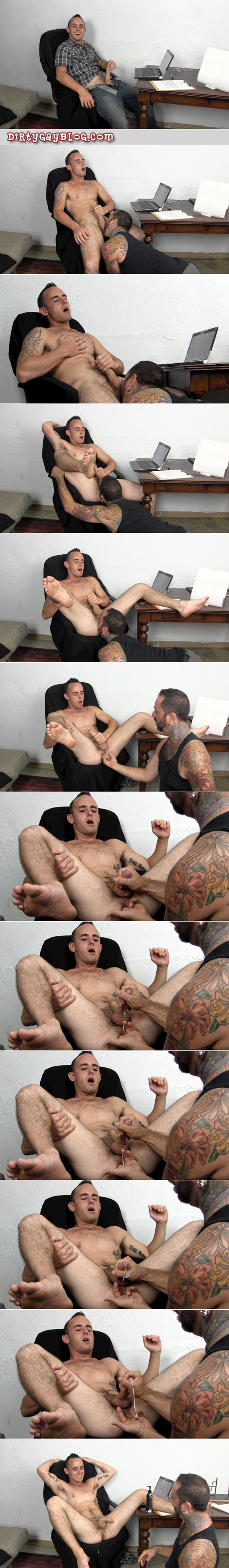 Furry straight guy has his prostate milked by a hairy, heavily tattooed Daddy.