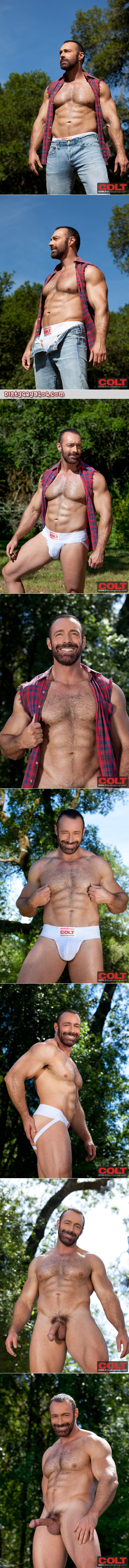 Beefy, masculine lumberjack in a jockstrap and a bikini swimsuit strips naked, gets hard and jacks off to an enormous cumshot.