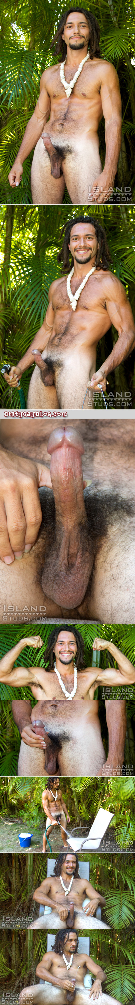 Veiny, muscular, straight Hawaiian guy nude shoots a huge load out of the swollen mushroom head of his cock.