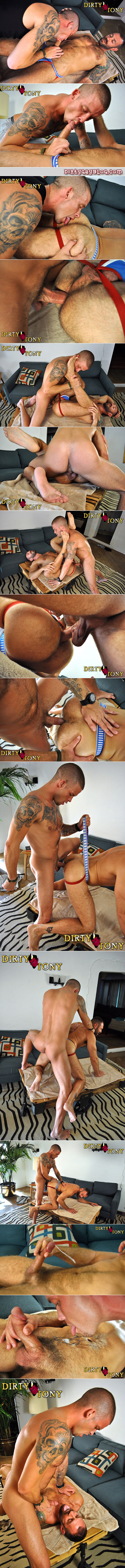 Tan, tattooed military man fucks the hairy bubble butt of a hot bearded Daddy in a jockstrap.
