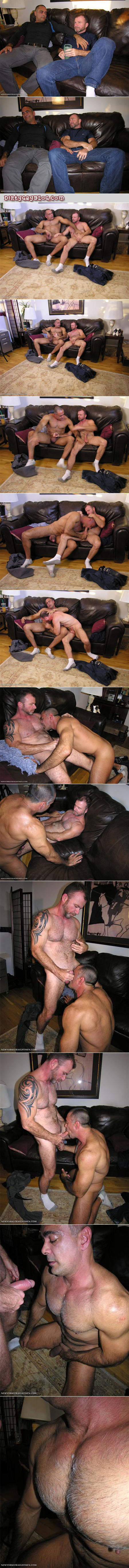 Furry, muscular, mature Daddies wearing white athletic socks get each other off, even though they're straight.