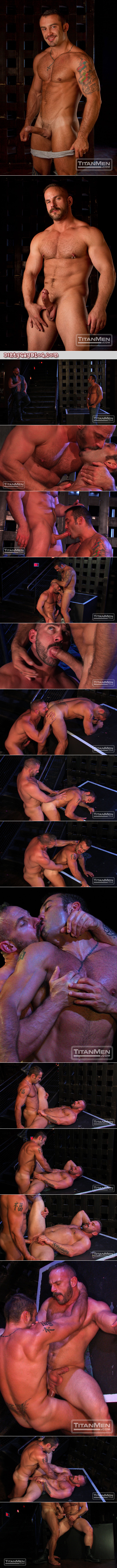 Hairy musclemen fuck each other's asses in a public leather and levi bar.