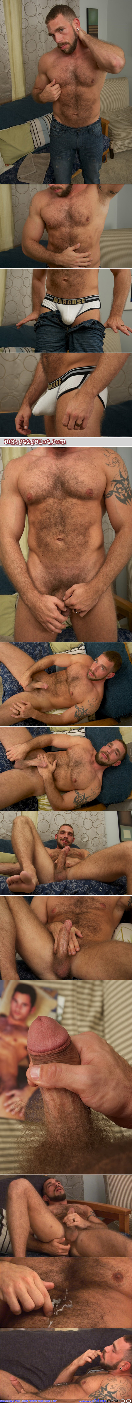 Beefy, hairy guy with a boner in his tight white briefs jerks off and eats his own cum.