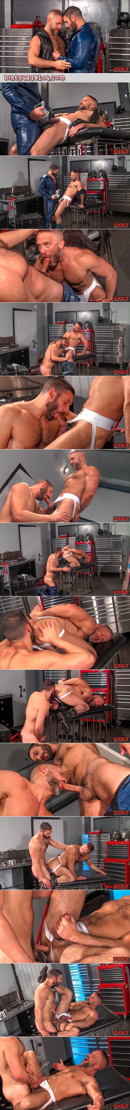 Butch, hairy mechanics fuck in their jockstraps in the garage and shoot their huge cumshots all over each other.