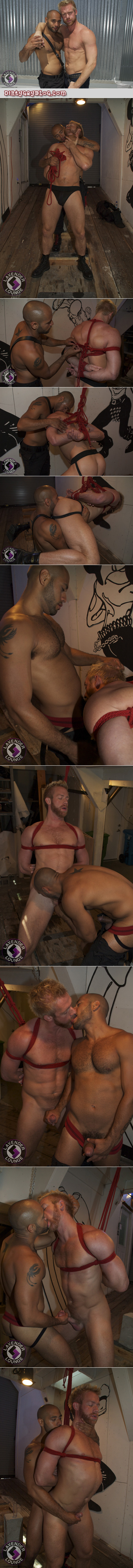 Japanese rope bondage expert ties up a muscular hairy blonde guy with a big horse cock.