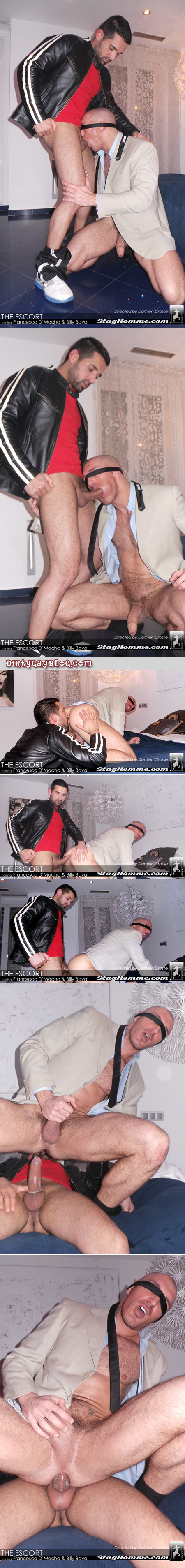 Hairy, muscular man in a suit hires a male escort to come over and rim and fuck his bubble butt while he's blindfolded