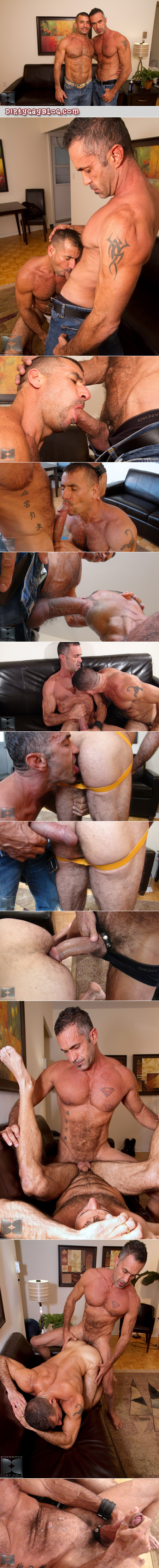 Ripped, muscular, hairy-chested, salt-and-pepper Daddy fucks an older pig bottom raw with his 10-inch uncut dick.