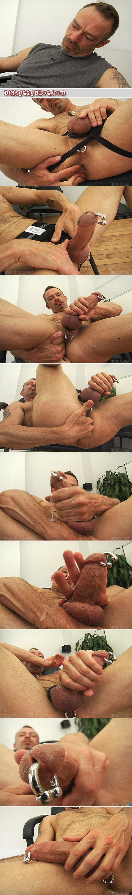 Hairy Daddy plays with his asshole and guiche while he strokes his pierced, tattooed penis.