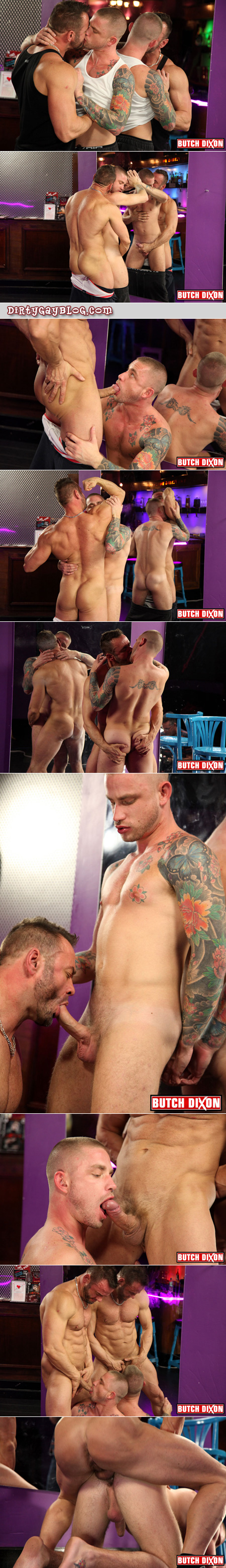 Beefy, burly barman's uncut cock is serviced by a horny, tattooed, blonde guy who gives up his tight asshole.