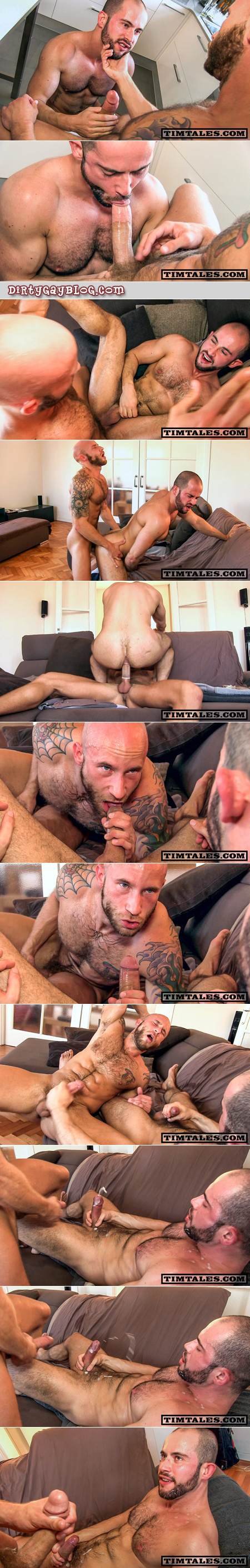 Heavily tattooed, bald, hairy cub sucks an enormous cum load out of his uncut friend after fucking his tight little ass.