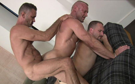 Three mature musclemen fuck each other without condoms, just using spit for lube.